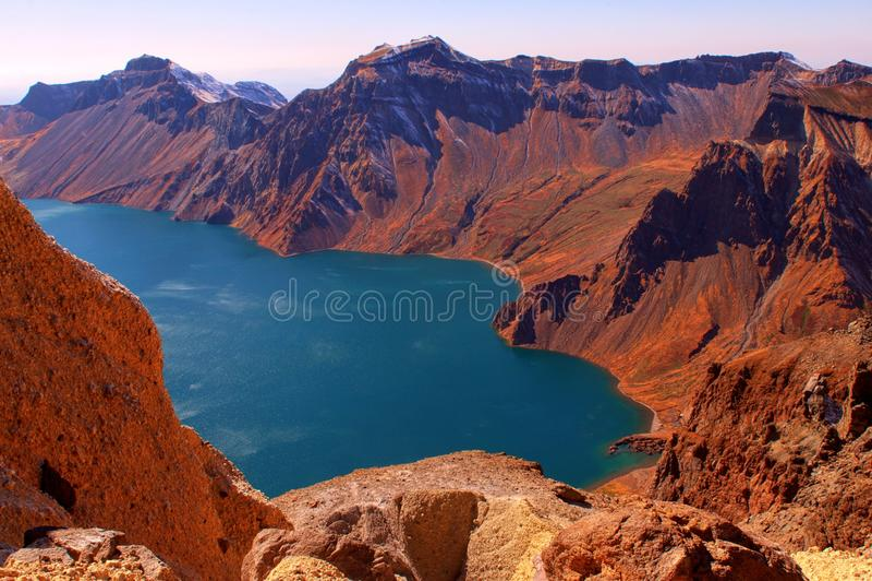 Crater Lake of Changbai Mountain stock photo
