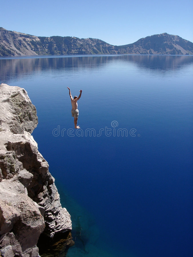 Download Crater Lake Leap stock image. Image of jumped, jumps, azure - 1278523