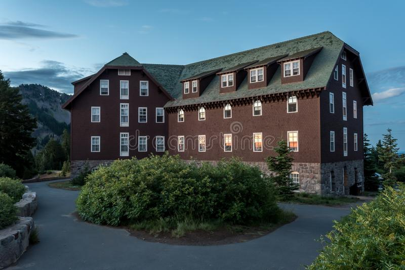 Crater Lake Lodge at Sun Rise. In National Park royalty free stock photos