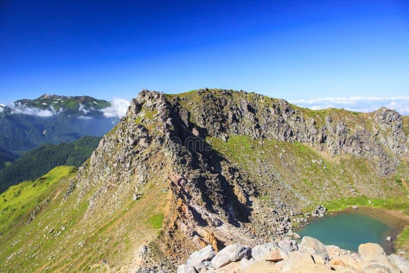 Crater lake. Of Mt. Yakedake, Japan Alps royalty free stock image
