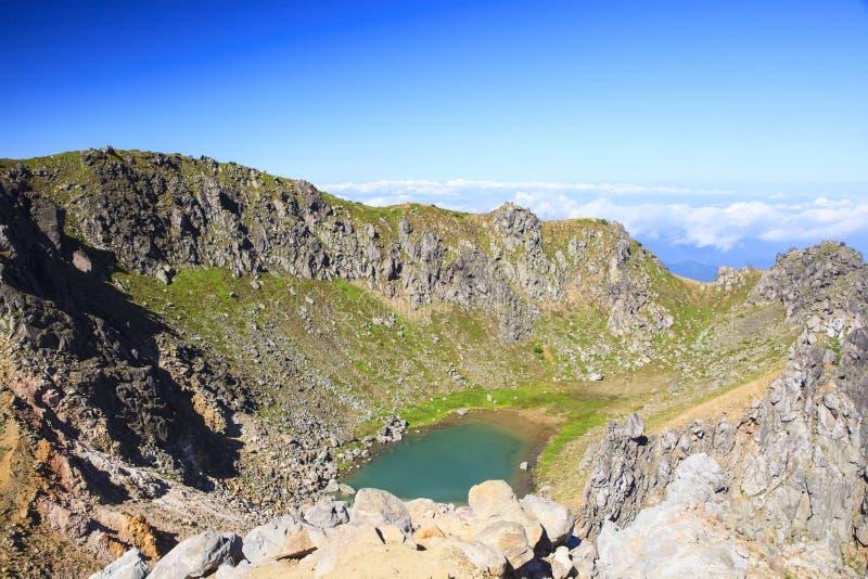 Crater lake. Of Mt. Yakedake, Japan Alps stock images