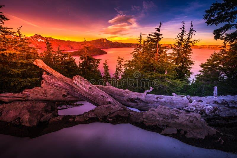 Crater Lake National Park Oregon. Crater Lake National Park Wizard Island and Watchman Peak Oregon at Sunset stock image