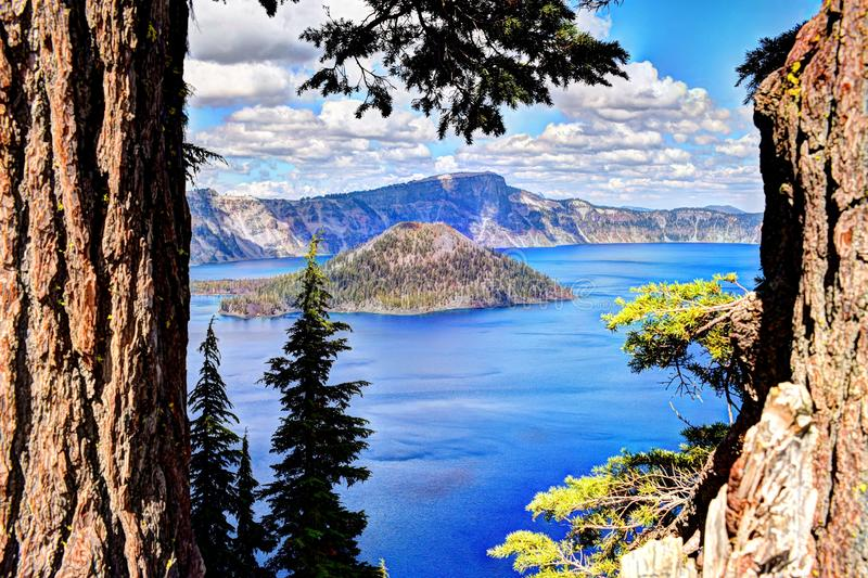 Crater Lake National Park. Wizard Island at Crater Lake National Park in Oregon. This is a very popular park in Oregon. Theres hiking, boating, fishing, camping stock image