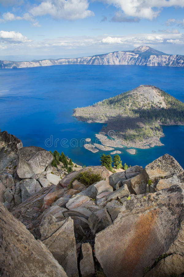 Crater Lake Oregon. View of Crater Lake form the top of Watchman's Peak, beautiful landscape in Oregon royalty free stock image