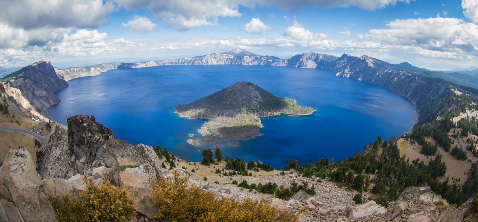 Crater Lake Oregon. Wide angle view of Crater Lake form the top of Watchman's Peak, beautiful landscape in Oregon royalty free stock photo