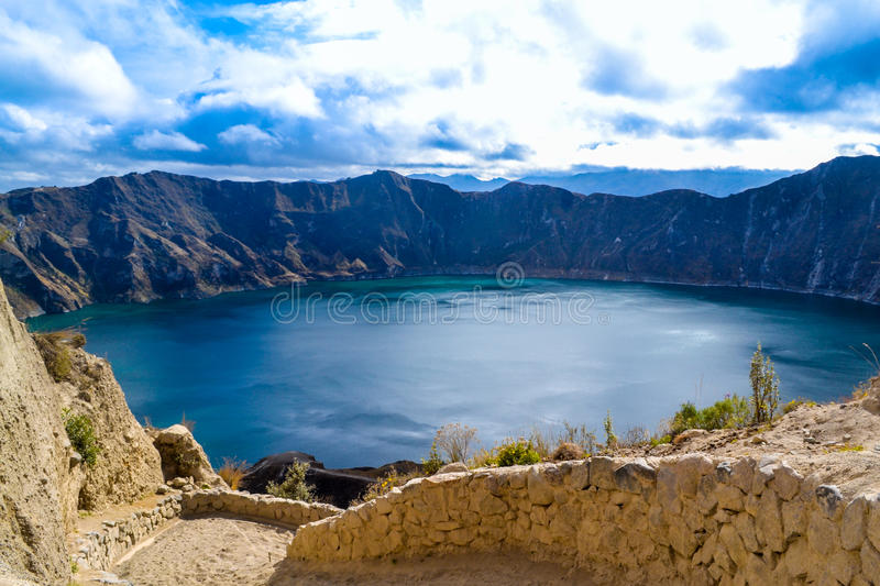 Crater lake. This is a picture of Quilotoa crater lake in Ecuador, hundreds of years ago there was a volcano here stock images