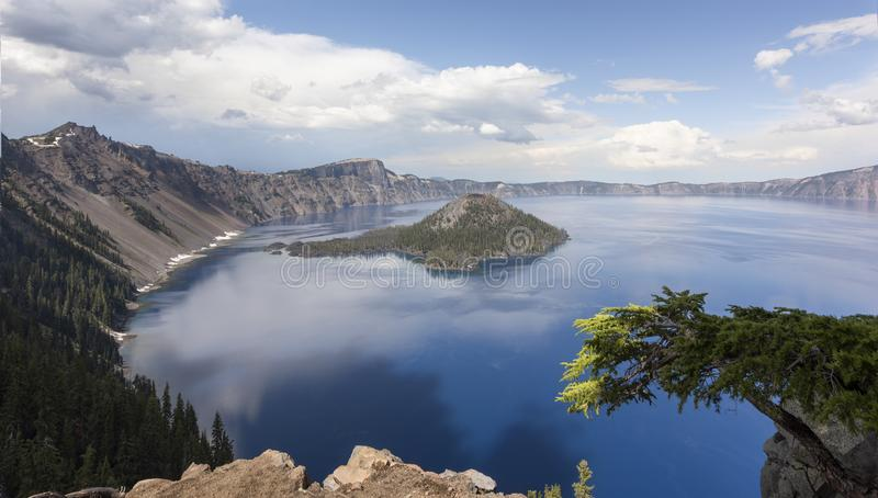 Crater Lake in Spring. Crater Lake NP is one of the country`s crown jewels. It is located in the Cascades Mountains of Southern Oregon stock photo