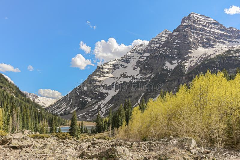 Maroon Bells seen from Crater Lake Trail, Colorado stock photo
