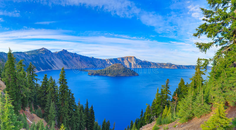 Crater lake view. Crater Lake National Park in autumn, Oregon, USA royalty free stock photography