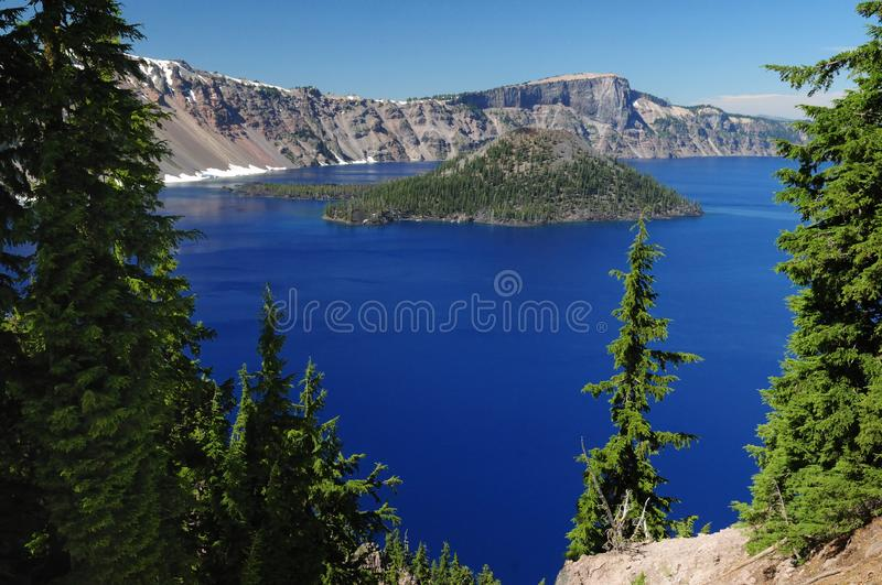 Crater Lake View From South Rim Oregon. On A Sunny Day With Clear Blue Sky royalty free stock photos