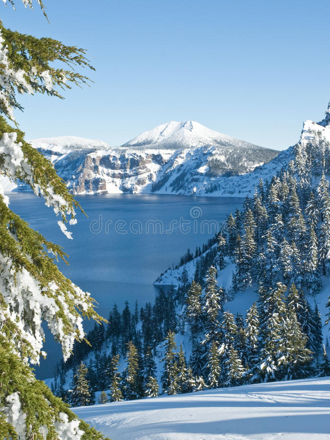 Download Crater Lake in winter stock image. Image of landscape - 28503763