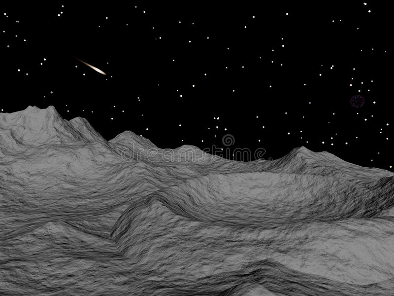 Crater Landscape. A space landscape with a crater and comet vector illustration