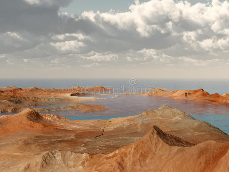 Crater landscape by the sea. Computer generated 3D illustration with a crater landscape by the sea stock illustration