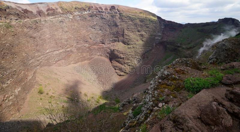 Crater of Mount Vesuvius. The crater of Mount Vesuvius which erupted in AD 79 and buried the cities of Pompeii and Herculaneum stock image