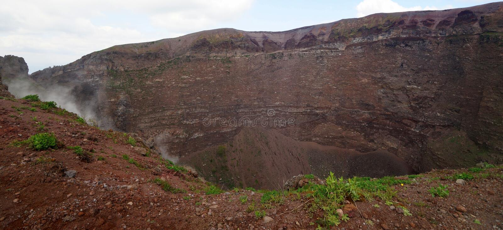 Crater of Mount Vesuvius, Italy. The crater of Mount Vesuvius which erupted in AD 79 burying the Ancient Roman cities of Pompeii and Herculaneum royalty free stock photos