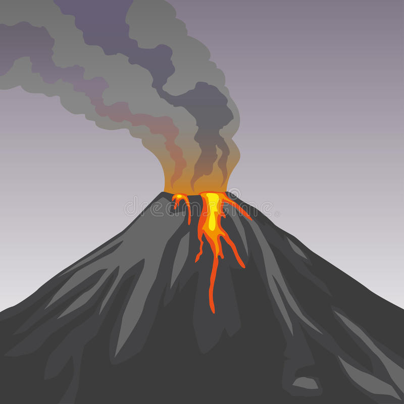 Crater mountain volcano hot natural eruption. Smoke. Fire. Crater mountain volcano hot natural eruption. Grey volcano. Dangerous phenomenon. Vector illustration royalty free illustration