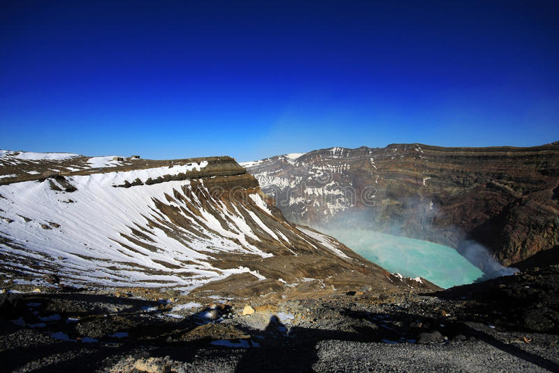 Crater, part of Aso San volcano. Kyushu, Japan. A famous tourist destination stock photography