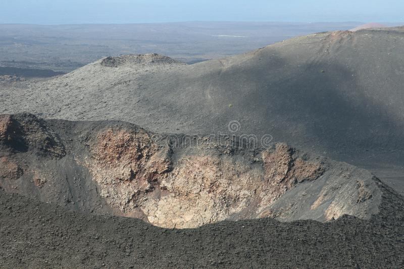 Crater of a volcano in close up, Timanfaya National Park,Lanzarote, Spain royalty free stock images