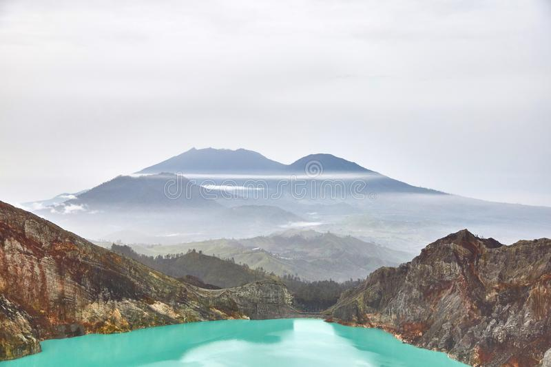 Crater of the volcano Ijen. View from above stock illustration
