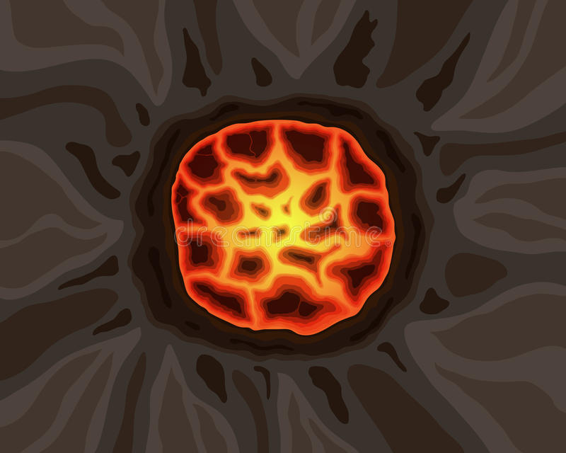 The crater of a volcano with a red-hot lava. Vector illustration royalty free illustration