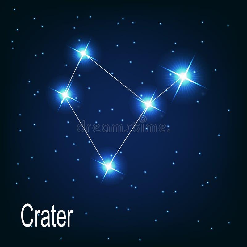 A cratera da constelação protagoniza no céu noturno. ilustração stock