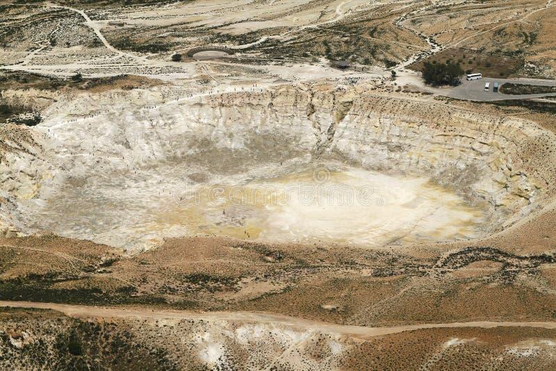 Cratera de Stefanos O vulcão na ilha de Nisyros imagem de stock