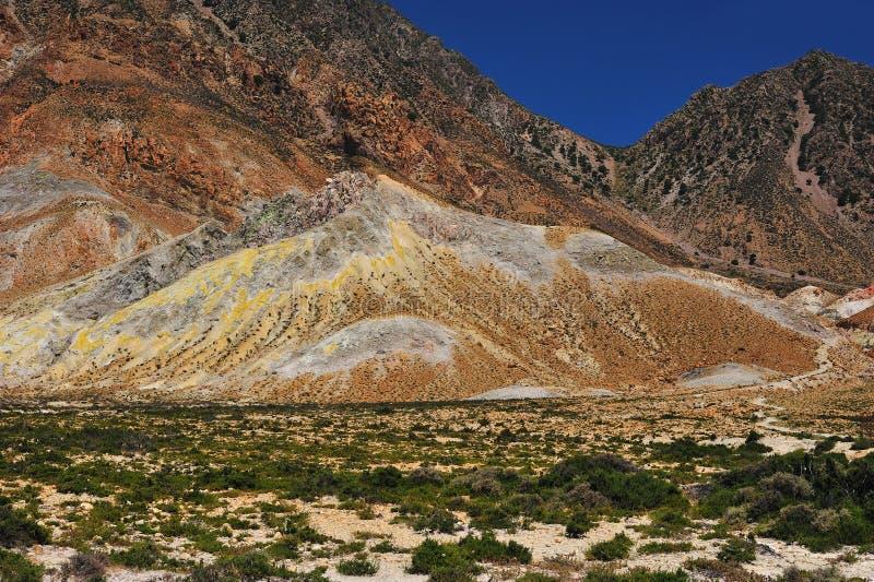 Cratera do active do vulcão de Nisyros imagem de stock