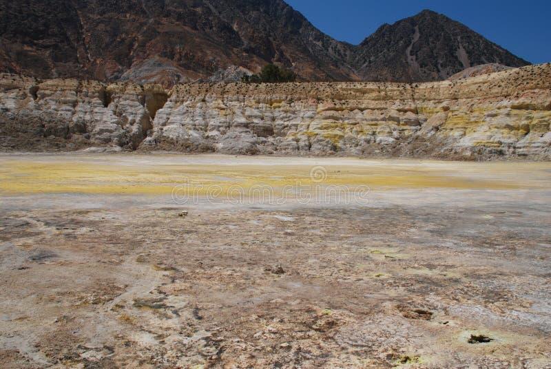 Cratera do vulcão, console de Nisyros foto de stock