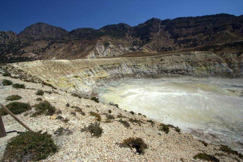 Cratera do vulcão, console de Nisyros imagem de stock royalty free