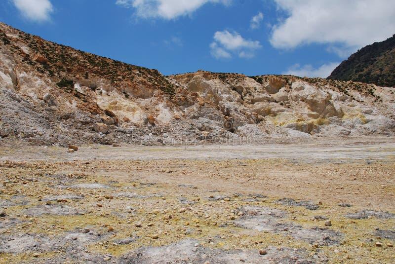 Cratera do vulcão de Nisyros, Grécia fotografia de stock