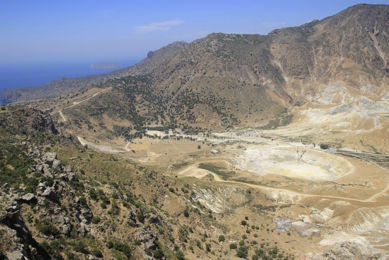 Cratera do vulcão na ilha de Nisyros imagem de stock