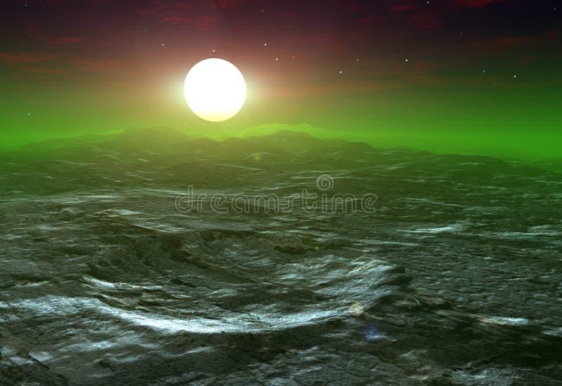 Cratera em uma lua com um sol que vem acima de atrás ilustração royalty free