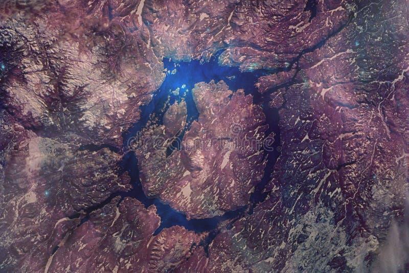 Cratere di impatto di Manicouagan fotografia stock