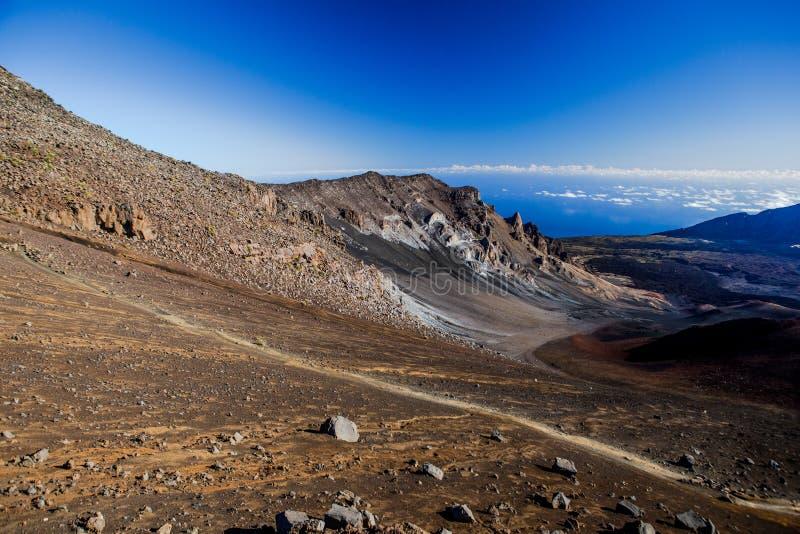 Cratere vulcanico al parco nazionale di Haleakala sull'isola di Maui, Hawai fotografia stock