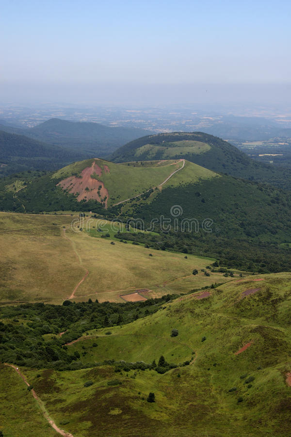 Craters of the auvergne volcanic chain stock photos