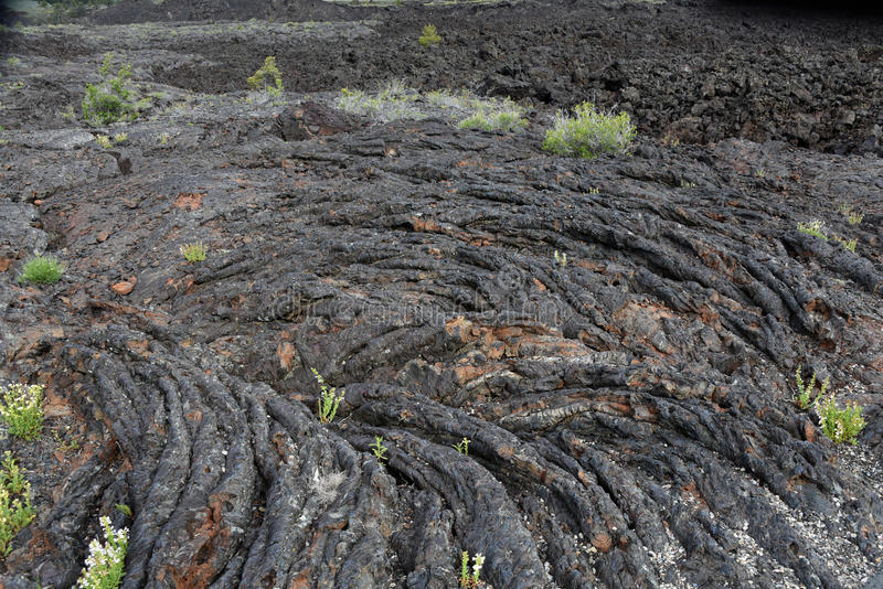 Craters of the Moon National Monument and Preserve, Arco, Idaho. Pahoehoe (Hawaiian) lava flow - basaltic lava that has a smooth, billowy, undulating, or ropy royalty free stock photos