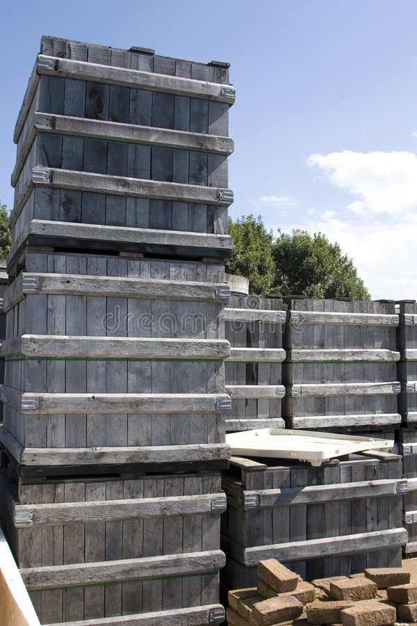 Crates. Wooden crates used to store wine bottles, stacked outside stock photography