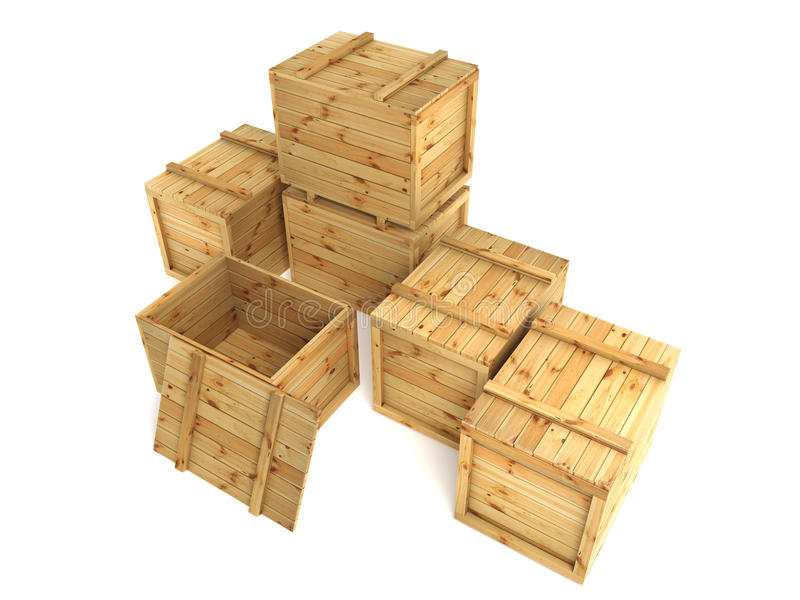 Download Crates stock illustration. Image of pine, cargo, cutout - 21589882
