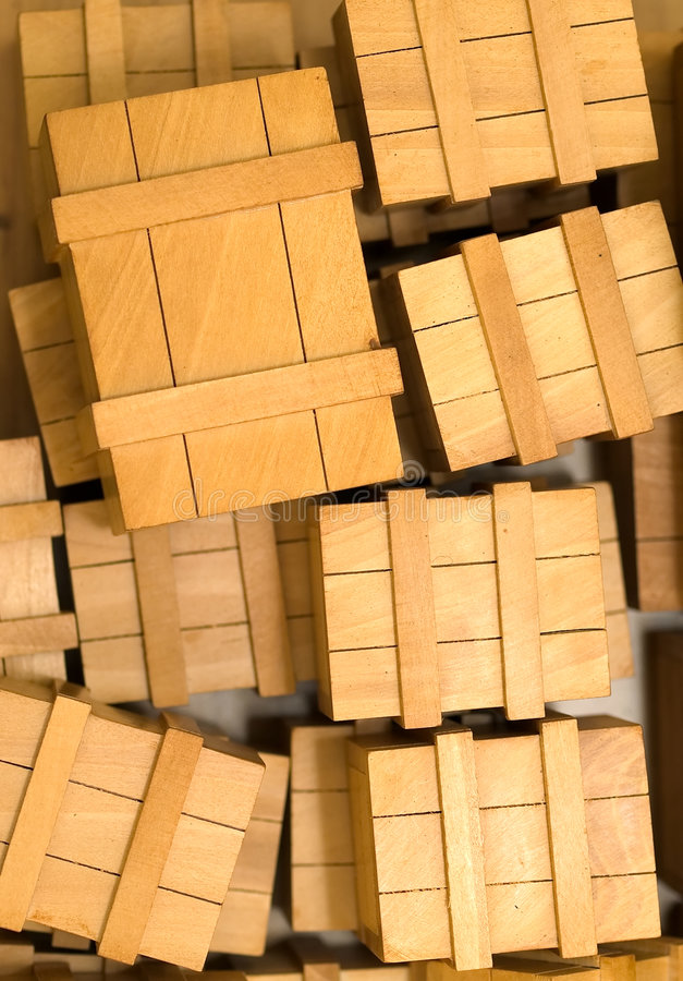 Crates. A top view of scattered wooden crates royalty free stock image