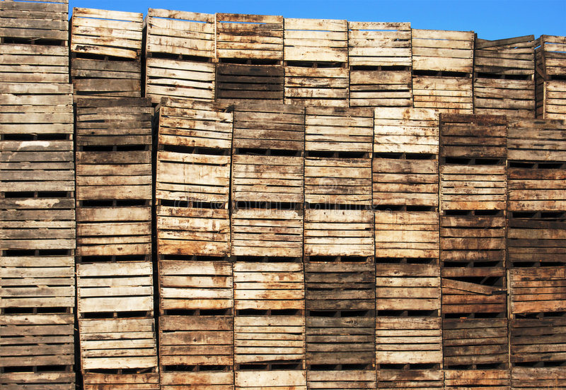 Crates. Dirty grungy vegetable crates on farm stock image