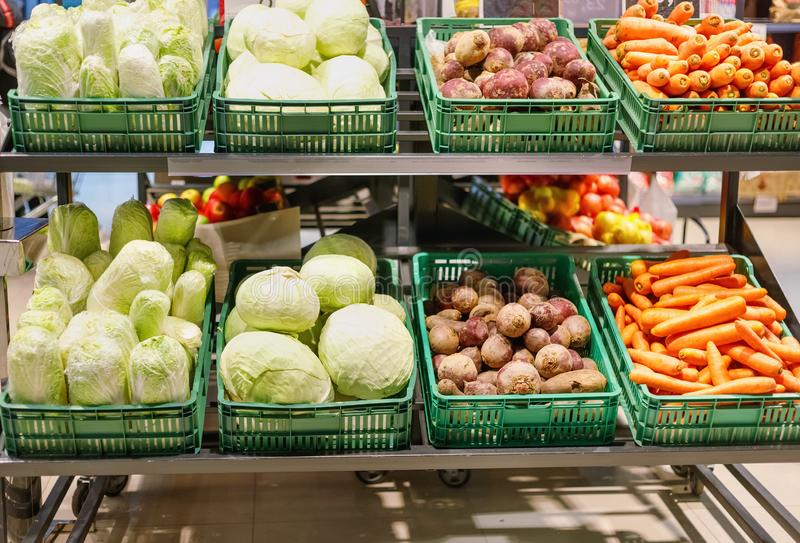 Crates with ripe fresh cabbage, carrots and beetroots on shelves stock photos