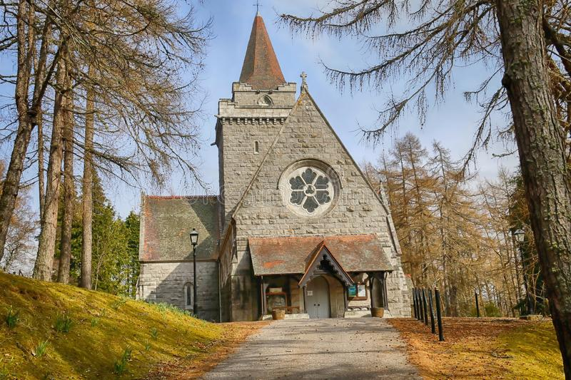 Crathie Kirk near Balmoral Castle. Crathie Kirk is a Church of Scotland place of worship. As it is near Balmoral Castle in Aberdeenshire it is used by Queen royalty free stock photo