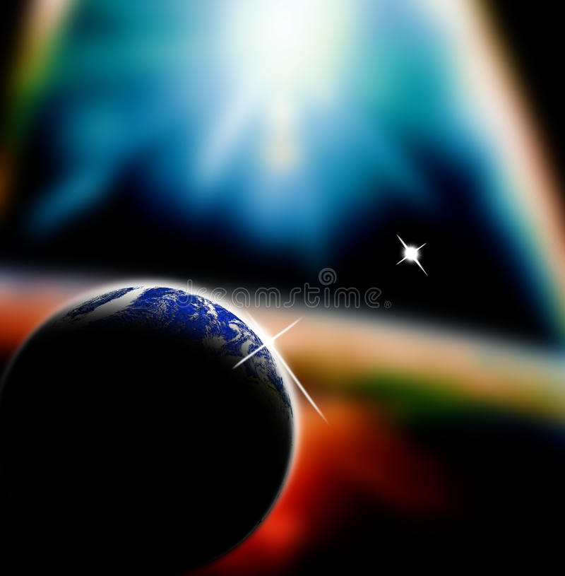 Cration der Welt, der Erde und der Kugel stock abbildung