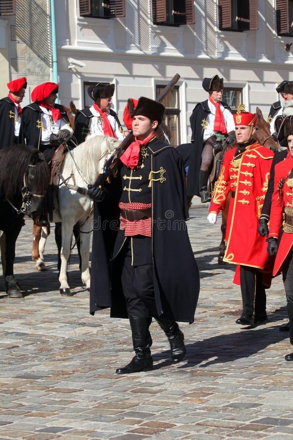 Cravat pułk zaznacza dzień krawat przy ceremonią zdjęcie stock