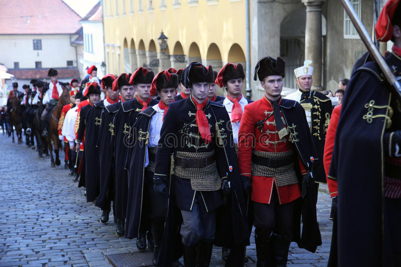 Cravat pułk zaznacza dzień krawat przy ceremonią zdjęcia stock