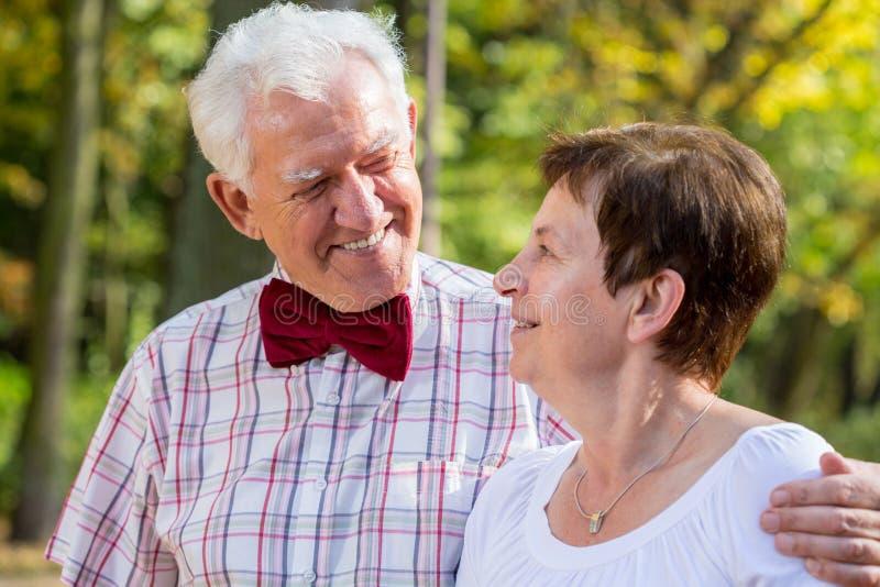 Cravatta a farfalla d'uso dell'uomo anziano immagini stock libere da diritti