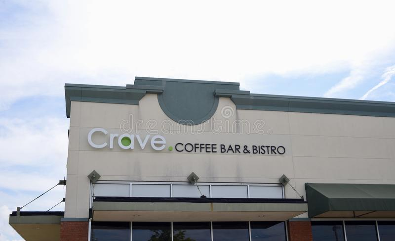 Crave Coffee Bar and Bistro, Arlington, TN. Crave Coffee Bar and Bistro in Arlington Tennessee sells fresh hot brewed coffee and light foods stock photography