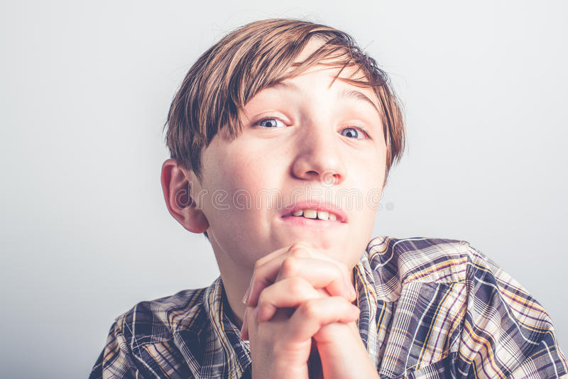 Crave a gift. Child that crave a gift stock photo