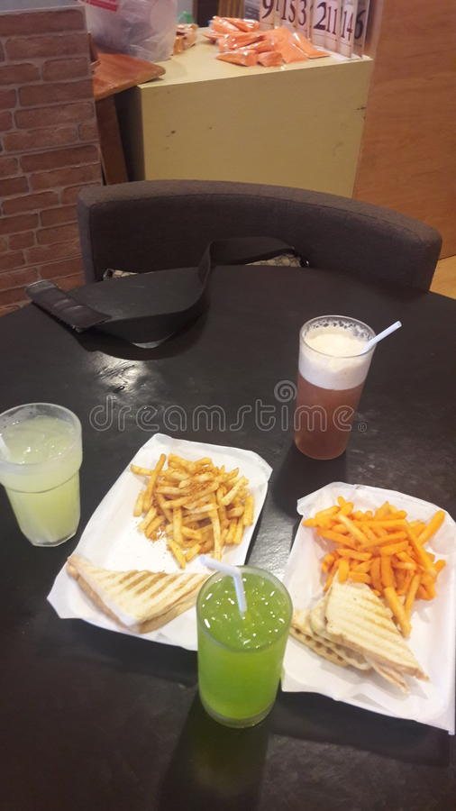 The crave shack. Fries and drinks stock photos