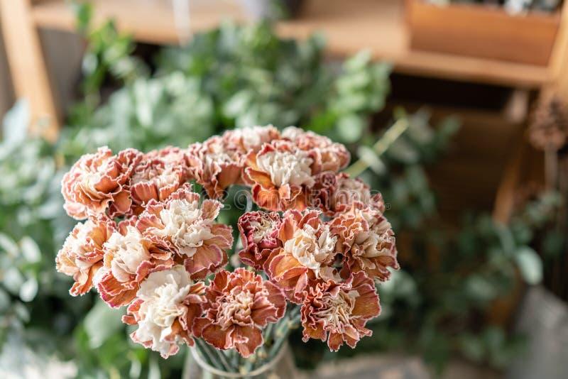 Cravo incomum da cor do grupo no vaso de vidro Flores do ramalhete no fundo claro wallpaper imagens de stock